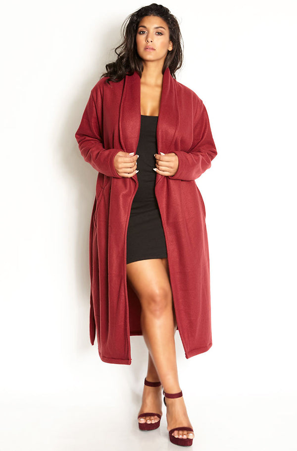 Burgundy Longline Fleece Coat plus sizes