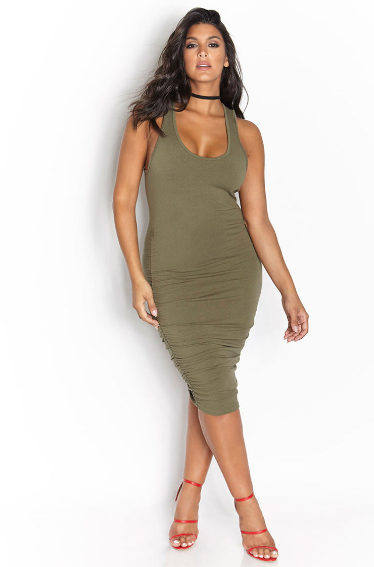 Olive Ruched Racerback Midi Dress plus sizes