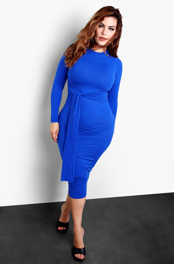 "Rebdolls ""My Element"" Waist Tie Bodycon Midi Dress"