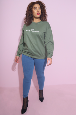 olive no new friends Sweatshirt street style plus sizes
