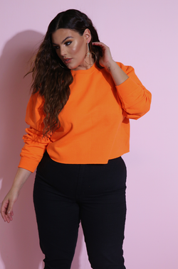 Neon Cropped Essential Sweatshirt Neon Orange