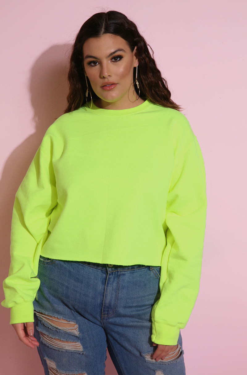 Neon Cropped Essential Sweatshirt Neon Yellow