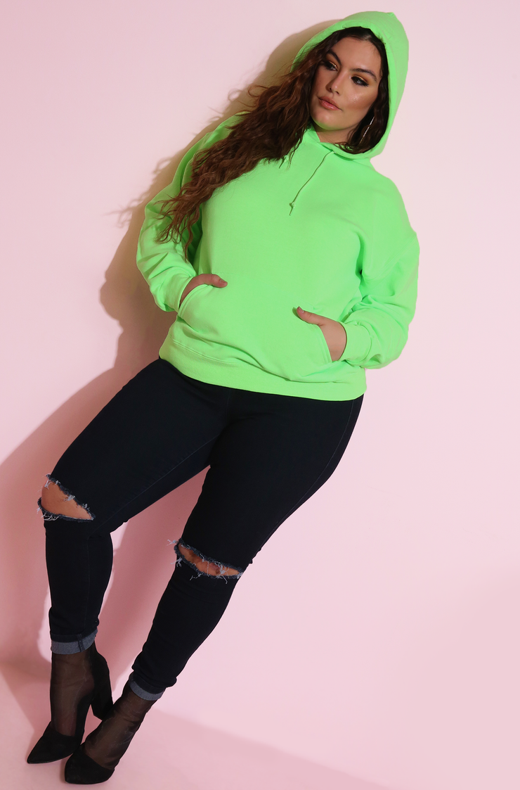 Neon Green Essential Hoodie Plus Sizes