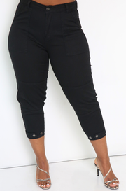 Black High Waist Cropped Cigarette Pants Plus Sizes