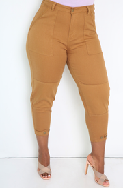 Wheat High Waist Cropped Cigarette Pants Plus Sizes