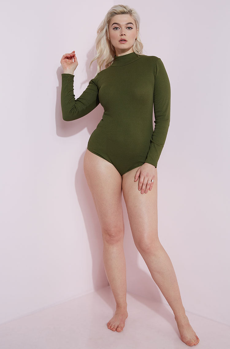 Olive Turtleneck Bodysuit plus sizes