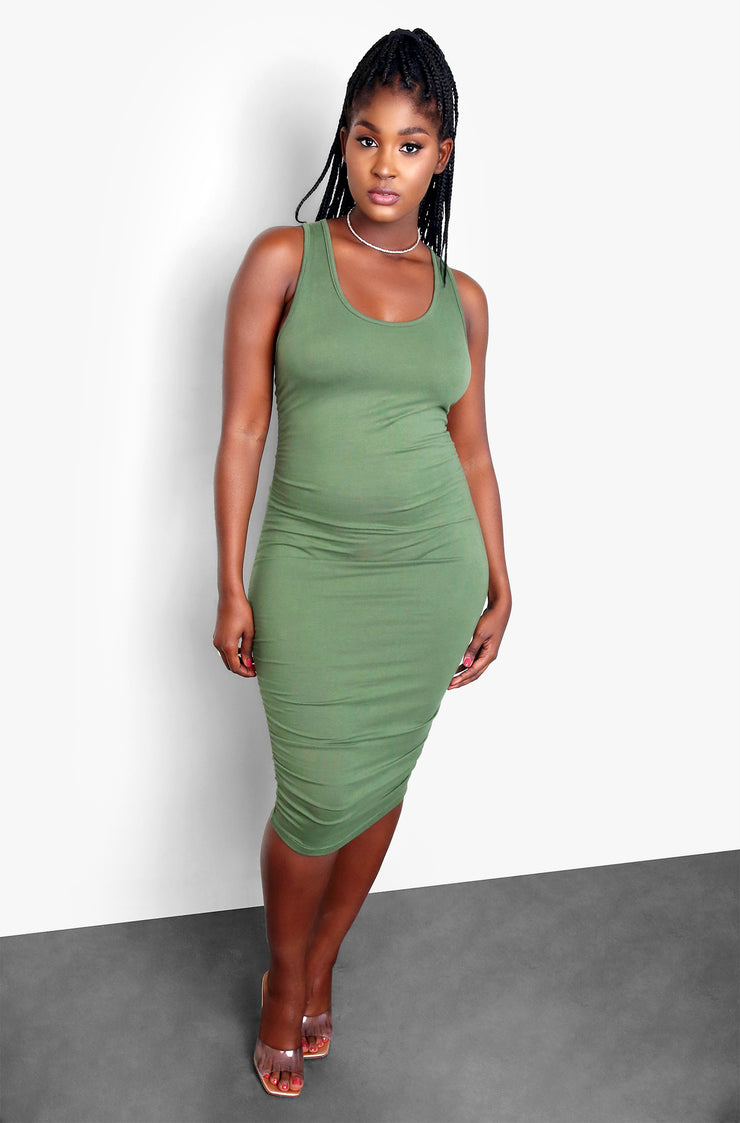 Olive Side Ruched Bodycon Midi Dress Plus Sizes