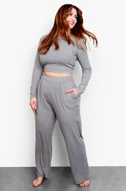 Gray Long Sleeve Crop Top & Palazzo Pant Set