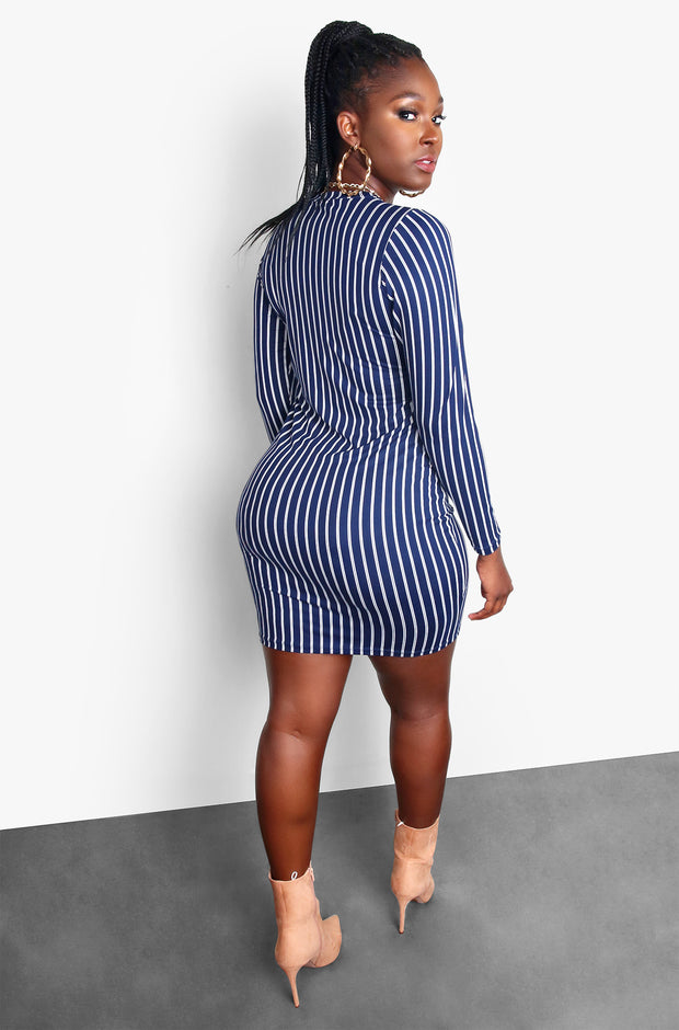 Navy Blue Striped Long Sleeve Bodycon Plus Size Mini Dress