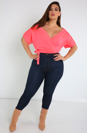 Pink Over The Shoulder Crop Top Plus Sizes