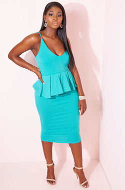 Turquoise Peplum Bodycon Midi Dress plus sizes