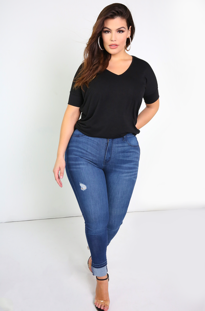 Dark Blue High Waisted Skinny Jeans Plus Sizes