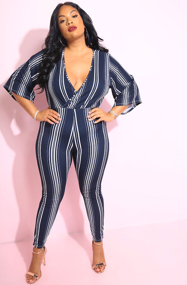 Navy Blue Kimono Sleeves Jumpsuit plus sizes