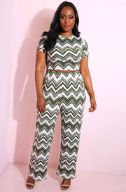 Olive Chevron Palazzo Pants plus sizes
