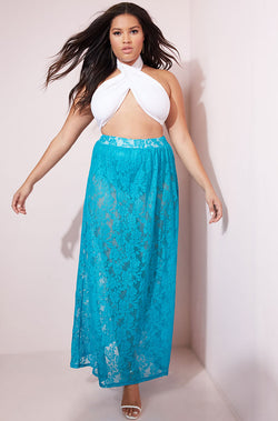 Turquoise Laced Bodycon Maxi Skirt Plus Sizes
