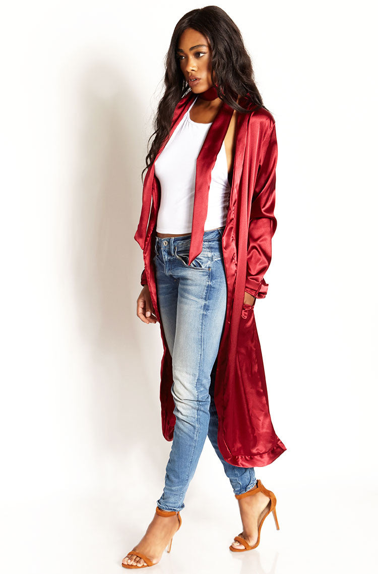 Burgundy Satin Kimono With Scarf plus sizes