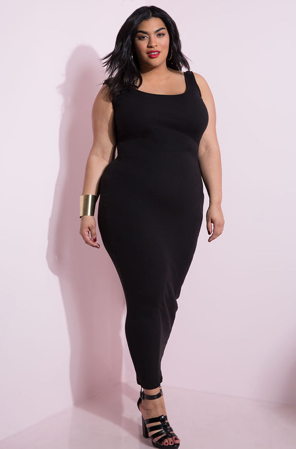 Black essential tank bodycon maxi dress plus sizes