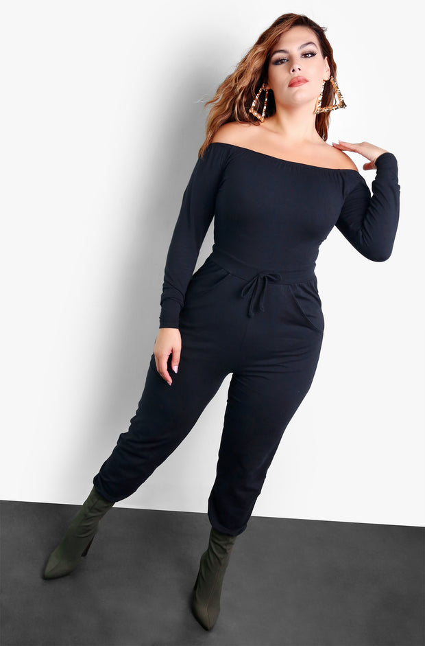 Black Over The Shoulder Tie Front Jumpsuit Plus Size