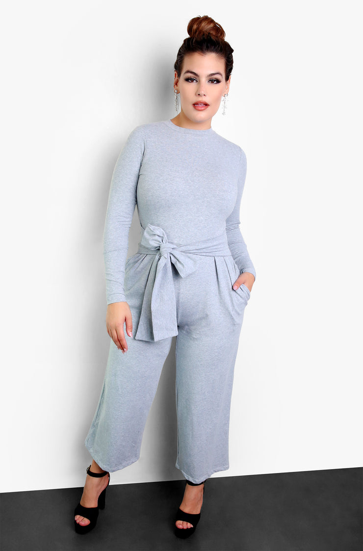 Gray Tie Front Long sleeve Jumpsuit Plus Sizes