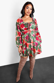 Pink Tie Front Long Puff Sleeve Mini Dress Plus Size