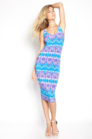 "Rebdolls ""Blue Abstract"" Strappy V-Neck Maxi Dress - FINAL SALE CLEARANCE"