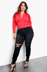 "Rebdolls ""Went Out"" Black Stone Wash High Rise Distressed Jeans - Black"