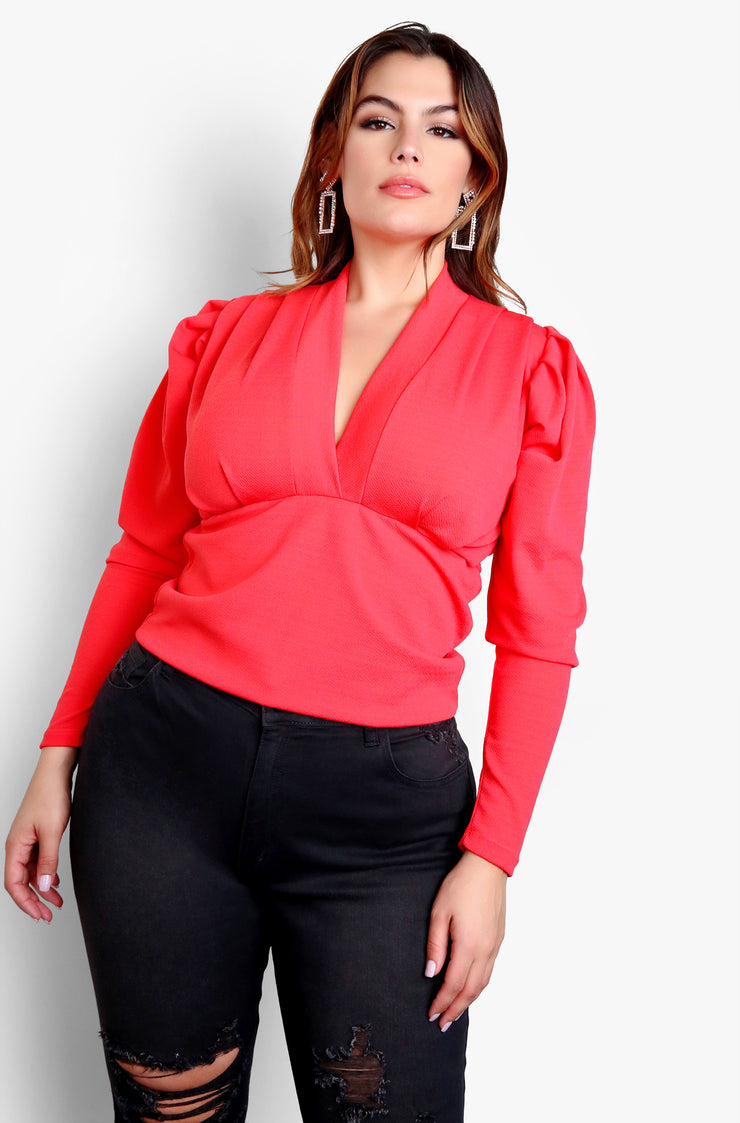 "Rebdolls ""None Of Your Concern"" Deep V-Neck Long Sleeve Top - Coral"
