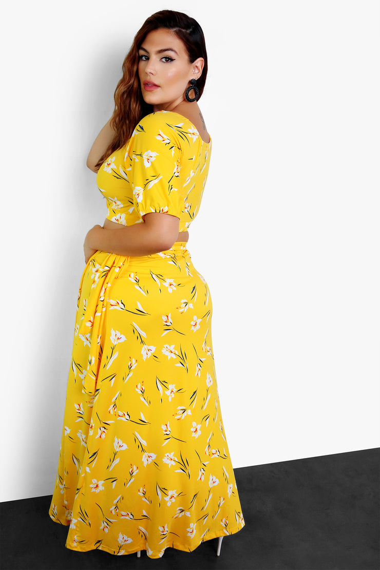 Mustard Peasant Crop Top with Keyhole Plus Size