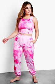 Hot Pink Tie Dye High Neck Cropped Tank