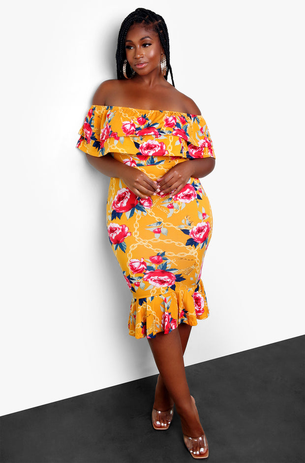Orange Over The Shoulder Ruffled Bodycon Midi Dress Plus Size
