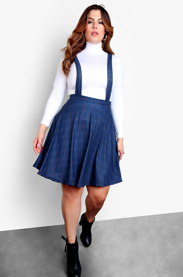 "Rebdolls ""Old Fashioned"" Skater Mini Skirt with Overalls - Blue"