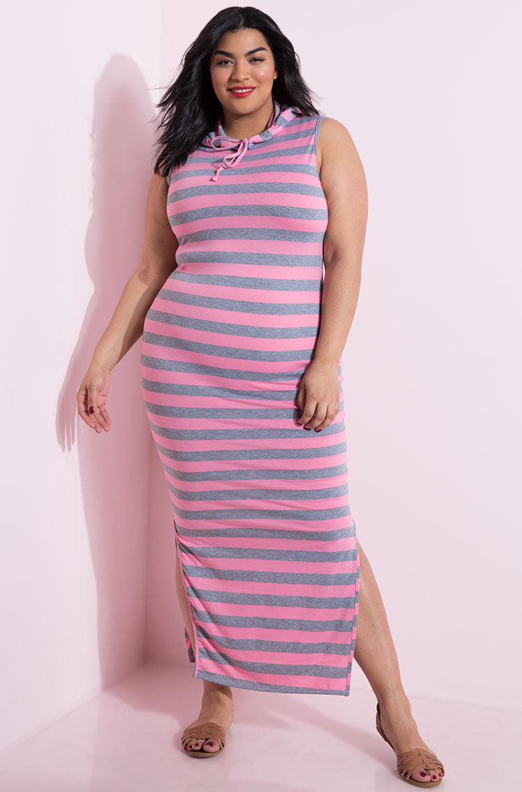Pink Striped Hooded Maxi Dress plus sizes