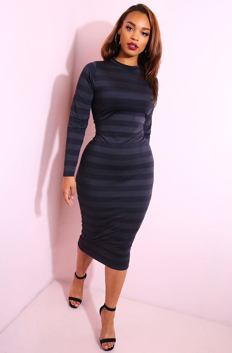 Black Semi Sheer Bodycon Midi Dress plus sizes