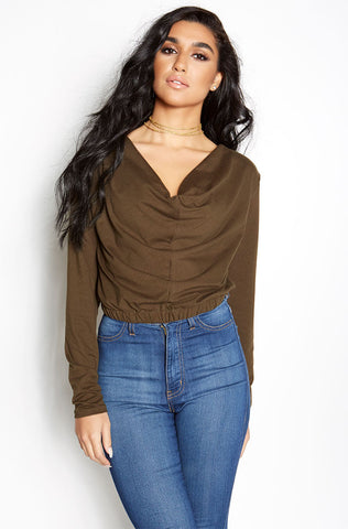 "Rebdolls ""No Reservations"" Over The Shoulder Ruffled Crop Top"