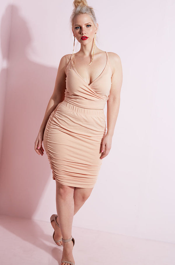 Blush Ruched Bodycon Mini Skirt plus sizes