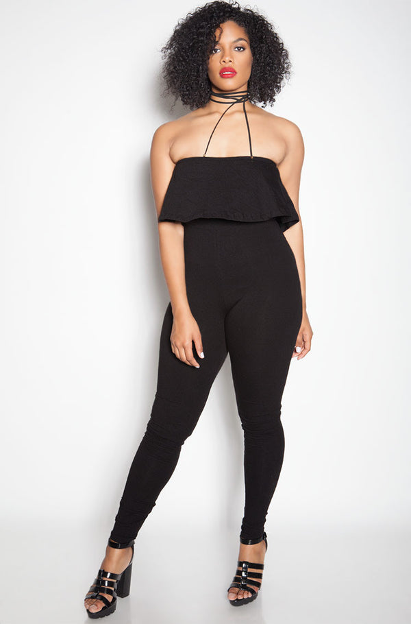 Black Ruffle Strapless Jumpsuit plus sizes
