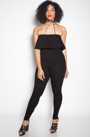 "Rebdolls ""The Ties"" Halter Ponte Jumpsuit"
