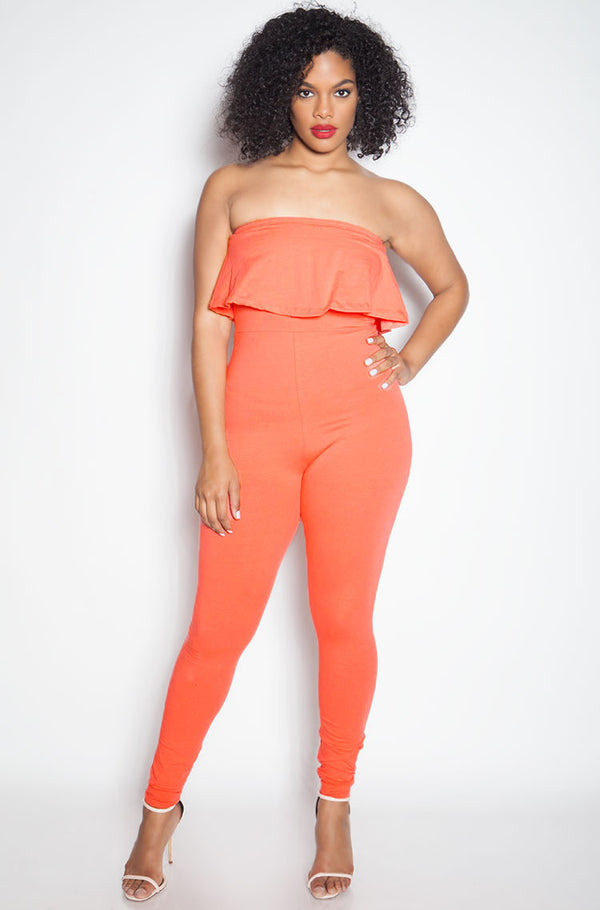 Coral Ruffle Strapless Jumpsuit plus sizes