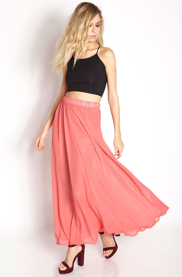 Coral Sheer Chiffon Skater Maxi Skirt Plus Sizes