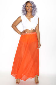 Orange Sheer Chiffon Skater Maxi Skirt Plus Sizes