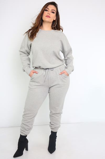 Gray Drawstring Joggers Plus Sizes