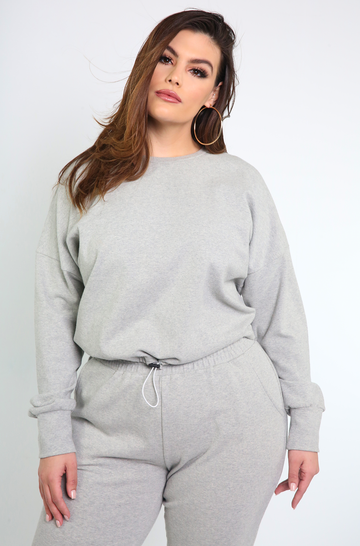 Gray Drawstring Sweatshirt Plus Sizes