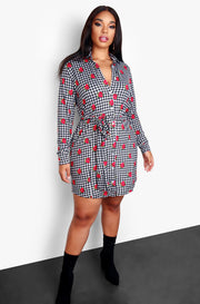 Black Gingham and Rose Embroidered Mini Tie Front Dress Plus Sizes