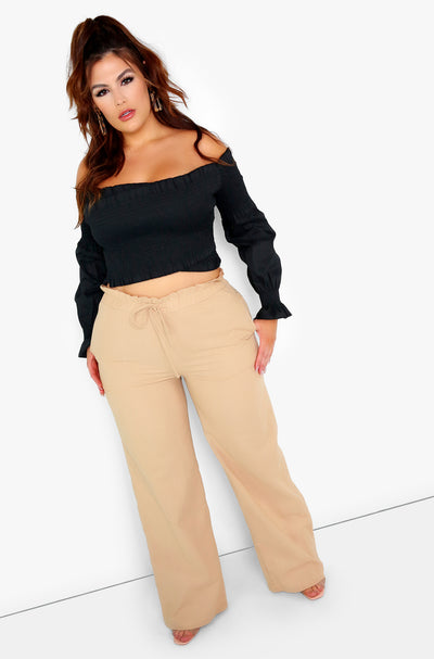 Khaki Wide Leg Pants w. Pockets Plus Sizes