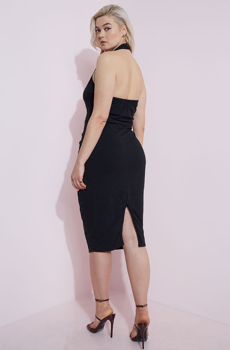 Black Cut-Out Midi Dress plus sizes