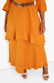 Camel Ruffle V-Neck Maxi Dress Plus Sizes