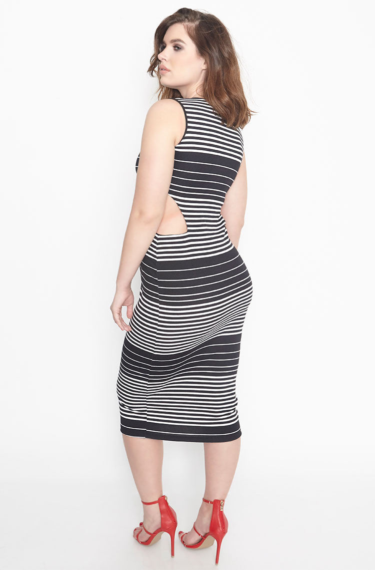 Black Cut-Out Bodycon Midi Dress plus sizes