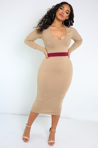 Nude Two Tone V-Neck Midi Dress Plus Sizes