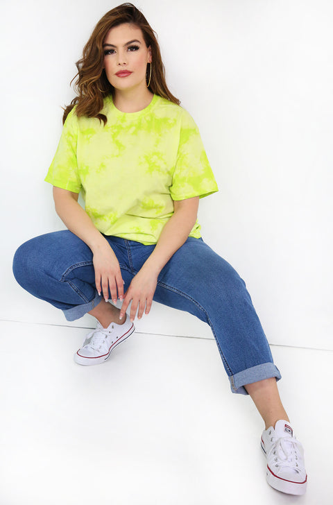 Green Tie Dye Crew Neck T-shirt Plus Sizes