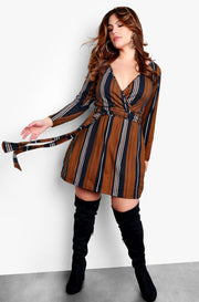 "Rebdolls ""Out For The Night"" Striped Long Sleeve V-Neck Tie Front Mini Dress - Black"
